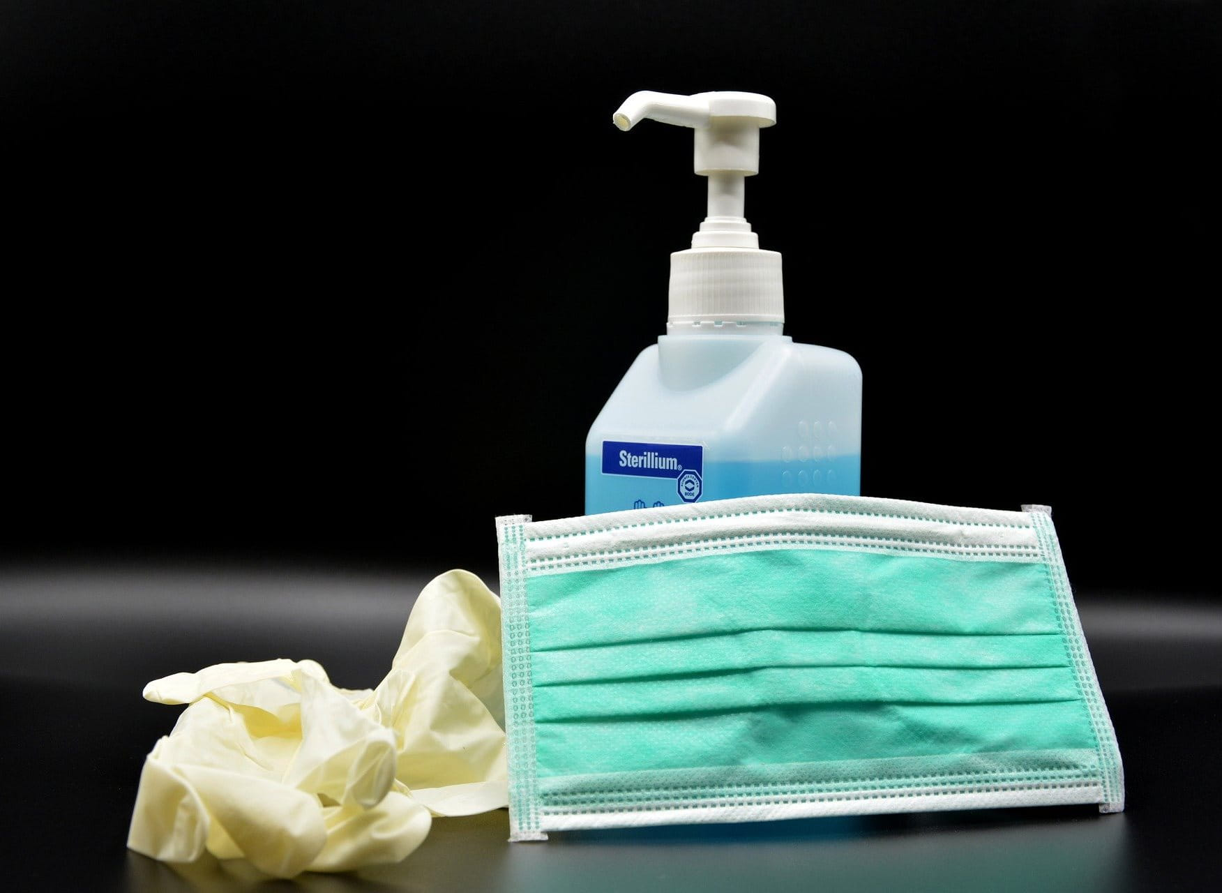 Disinfectant and protective gloves