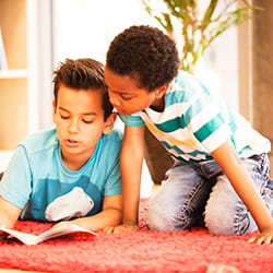 Two students at the library at SIS Swiss International School
