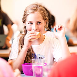 Student at lunch at SIS Swiss International School